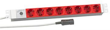 """19"""" 1HE Steckdosenleiste 8 x CEE7/3 rot Zuleitung C14 für USV, RAL7035 KOPP®"""