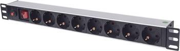 """19"""" 8fach Steckdosenleiste mit Schalter + Überlastschutz 3m Kabel / INTELLINET"""