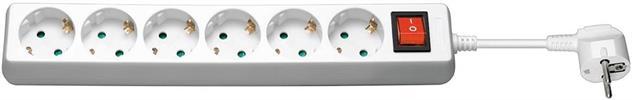 6fach Steckdosenleiste weiss mit Schalter 1,5m / Goobay®