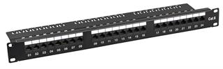 "CAT6 24Port Patchpanel 19"" 1HE UTP 250Mhz 5GB RAL9005"