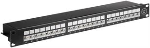CAT6a 24Port STP Patchpanel 500Mhz 10GB 1HE RAL9005