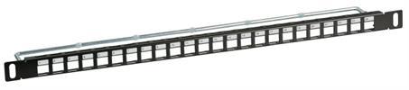 KeystoneJack 24Port Patchpanel 0,5HE schwarz RAL9005 EFB