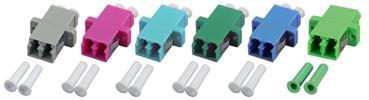 Kupplung LC Duplex MM OM3 einteilig, aqua, Keramikhülse, LC/PC